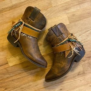 Size 7 Ankle Cowgirl Bootie Boots Frye Upcycled